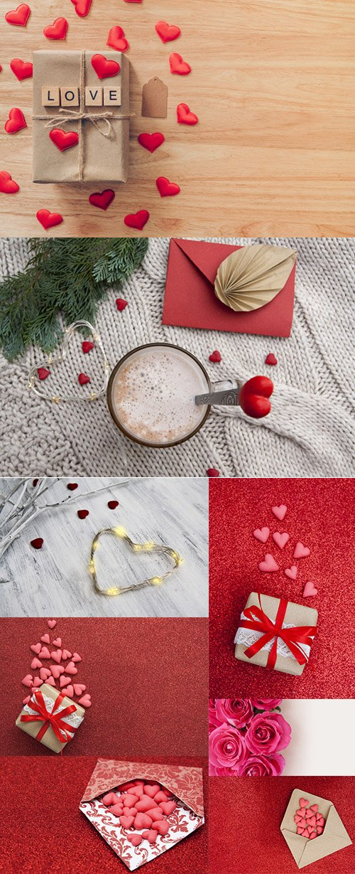 Red Hearts and Gift Box Vector Stock Images Set