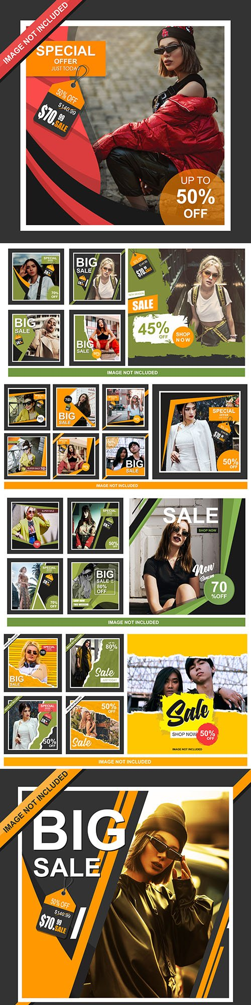 Network and social media sales banner collection