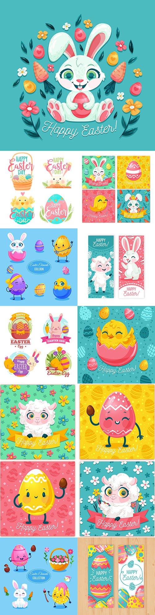 Happy Easter flat design collection elements llustration