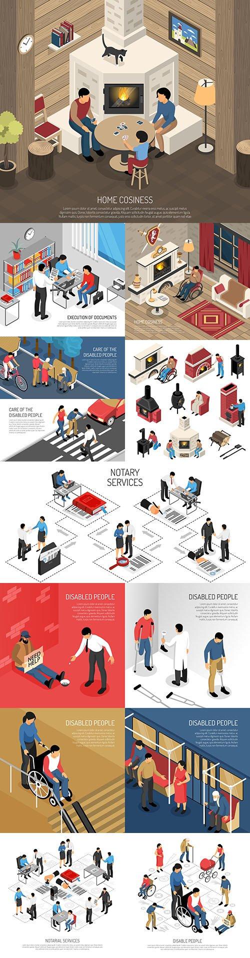Isometrics flat business technology and people design 19