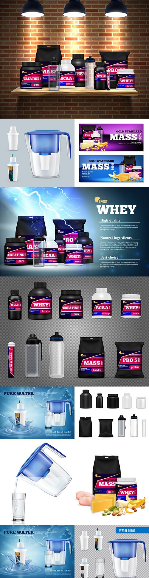 Fitness, sports food and filit for water realistic illustrations