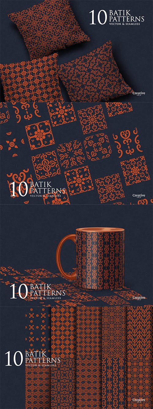 Batik Seamless pattern set