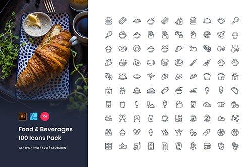 Food & Beverages 100 Set Icons Pack