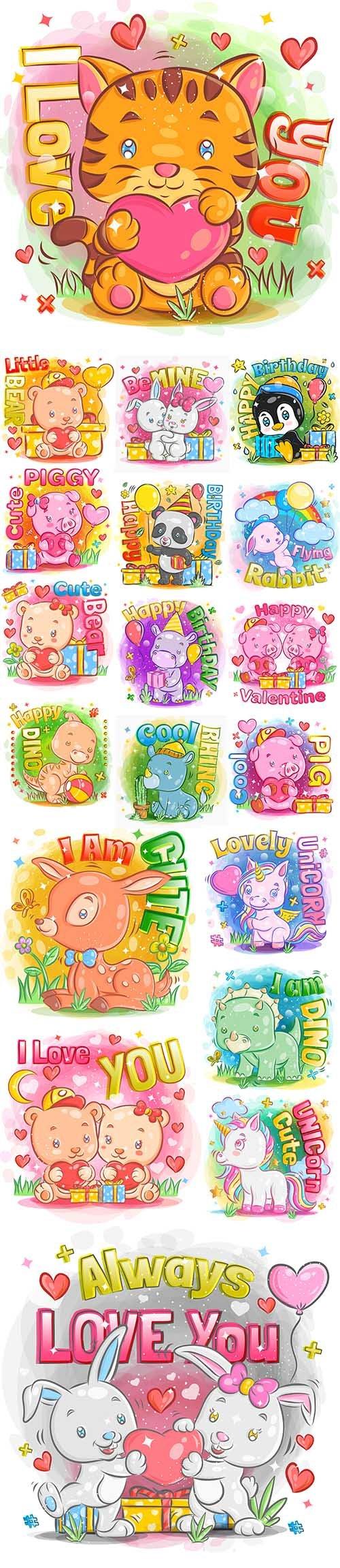 Happy Cute Cartoon Animals Illustrations Premium Set