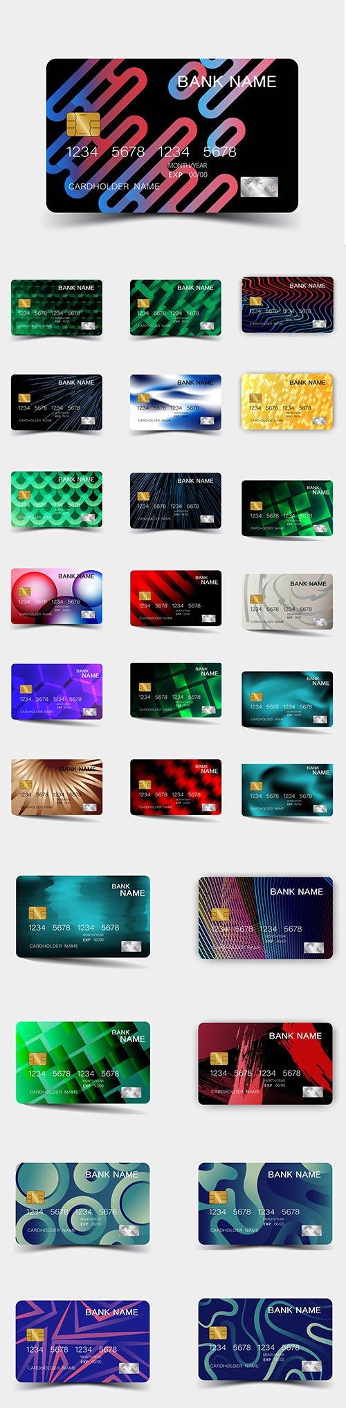 Credit Card Template Premium Vector Set