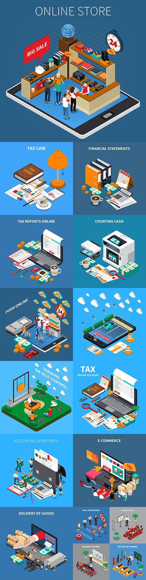 Isometrics flat business technology and people design 18