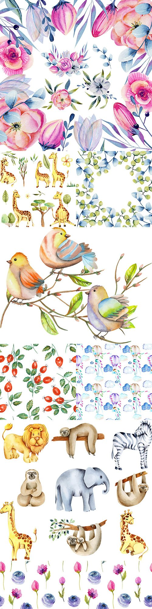 Animals and flower bouquets collection watercolor illustrations