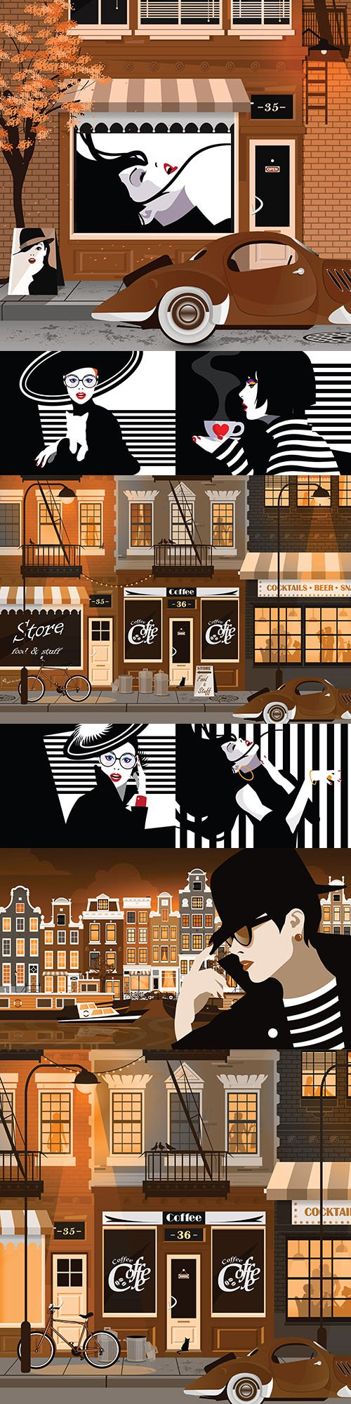 Old town street and fashion woman in pop art style