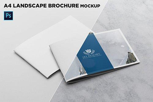 2 Covers Landscape Brochure Mockup PSD