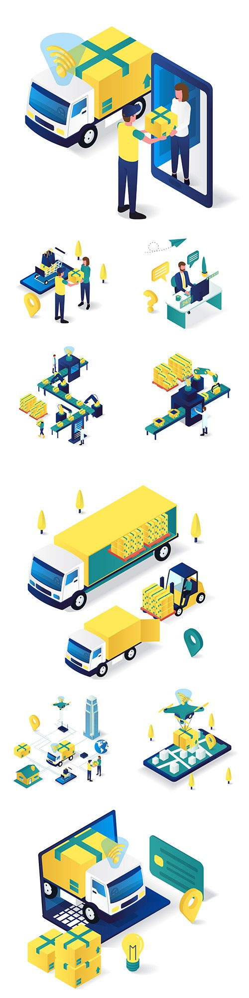 3d isometric online customer delivery and support service