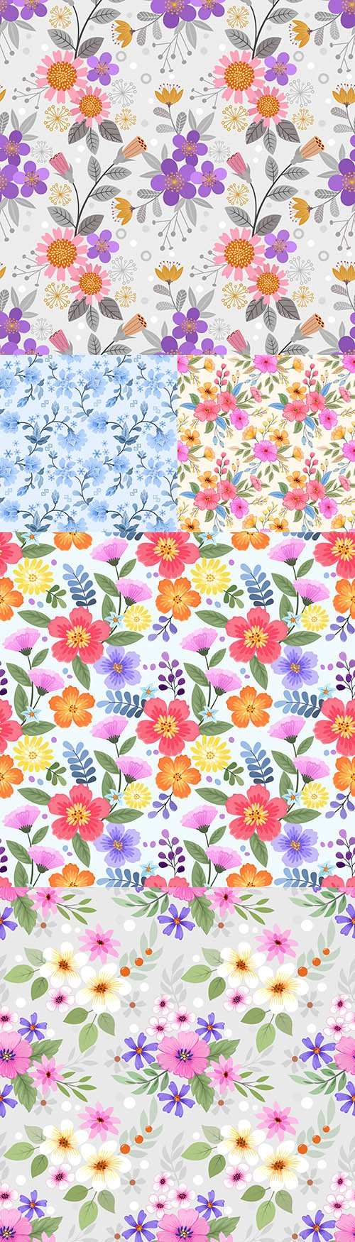 Colorful painted flowers seamless watercolor patterns