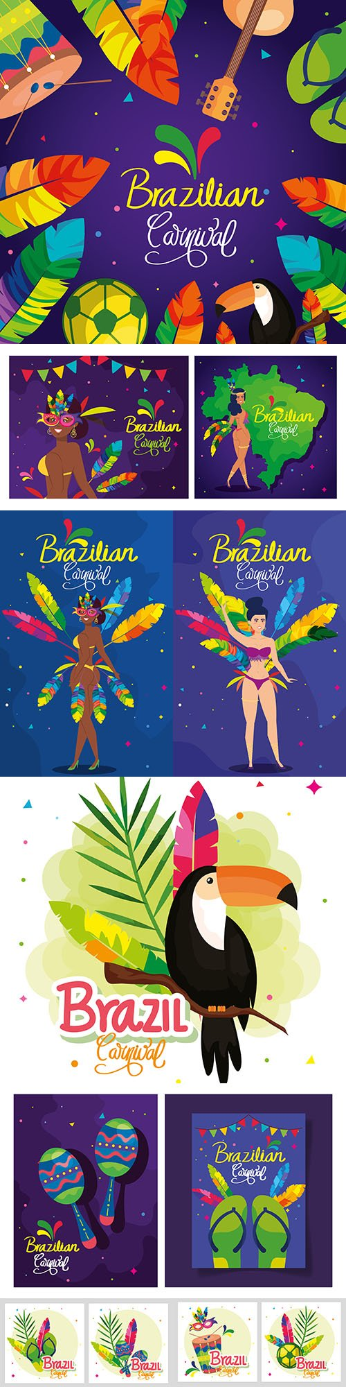 Brazilian carnival with decoration and exotic dancer