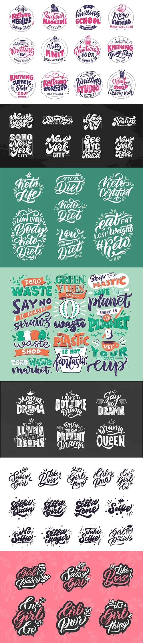 Handwritten Lettering Composition Isolated Illustrations