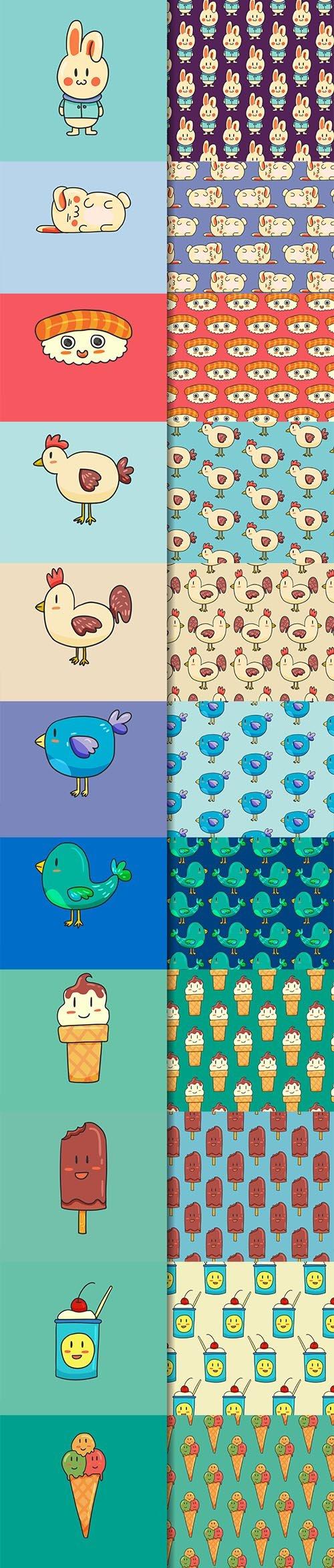 Cartoon Animals Seamless Pattern Vector Set