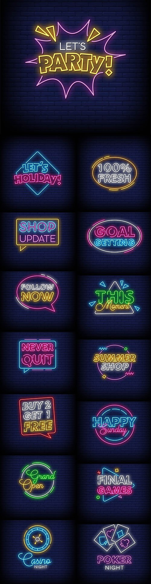 Fresh Neon Signs Style Text Vector Set