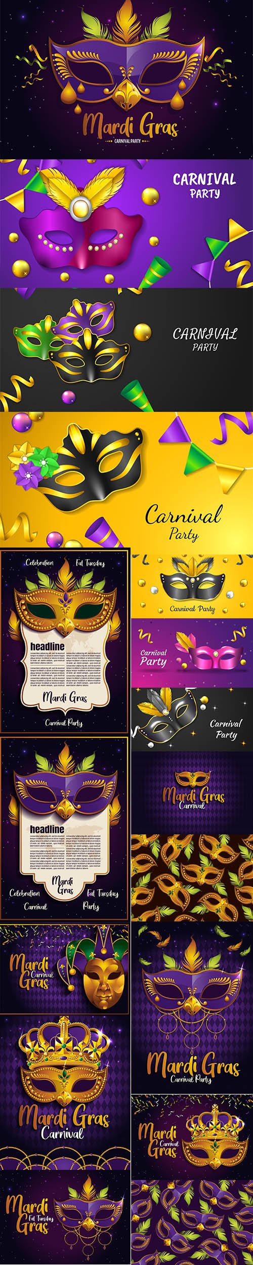 Mardi Gras Carnival Party Illustrations Vector Set