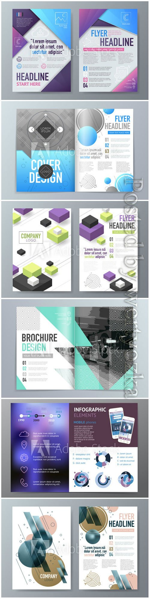 Abstract vector brochure design template in A4 size