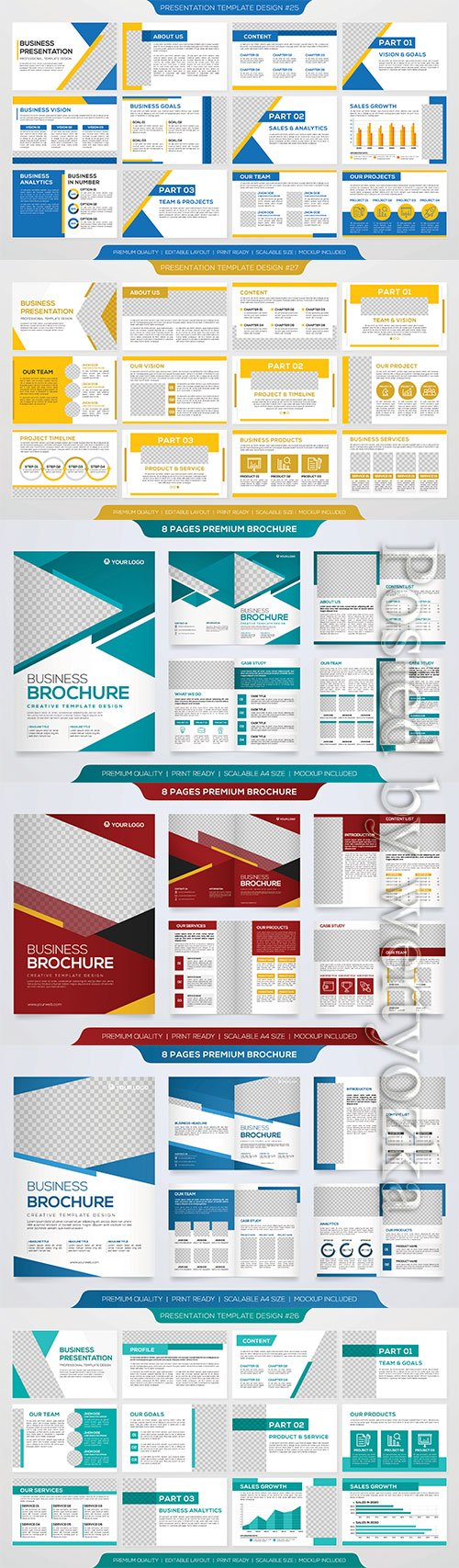 Set of business presentation template with minimalist style and modern layout