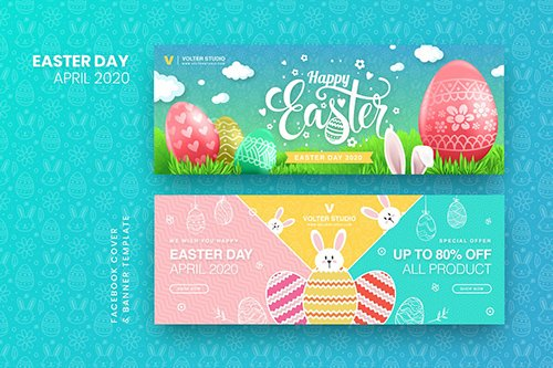 Easter Day Facebook Cover & Banner Template