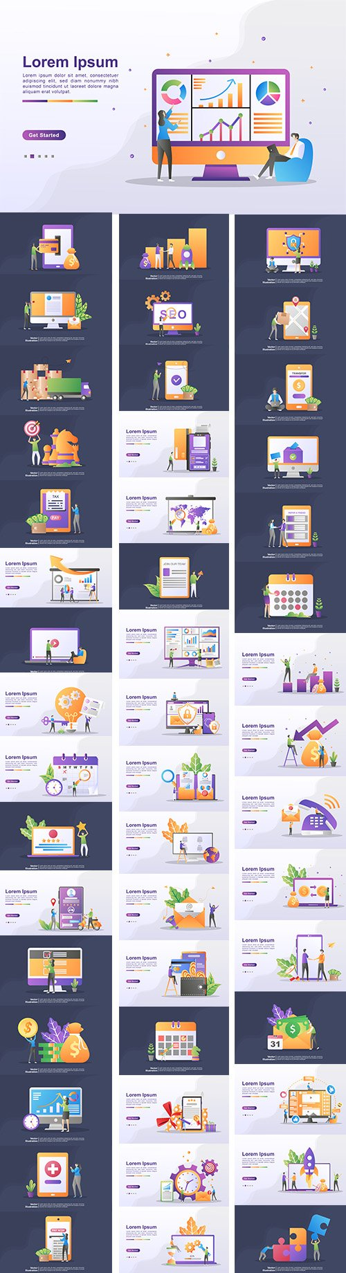 Various Scenes from Life, Business and Work Premium Illustrations Vector Set