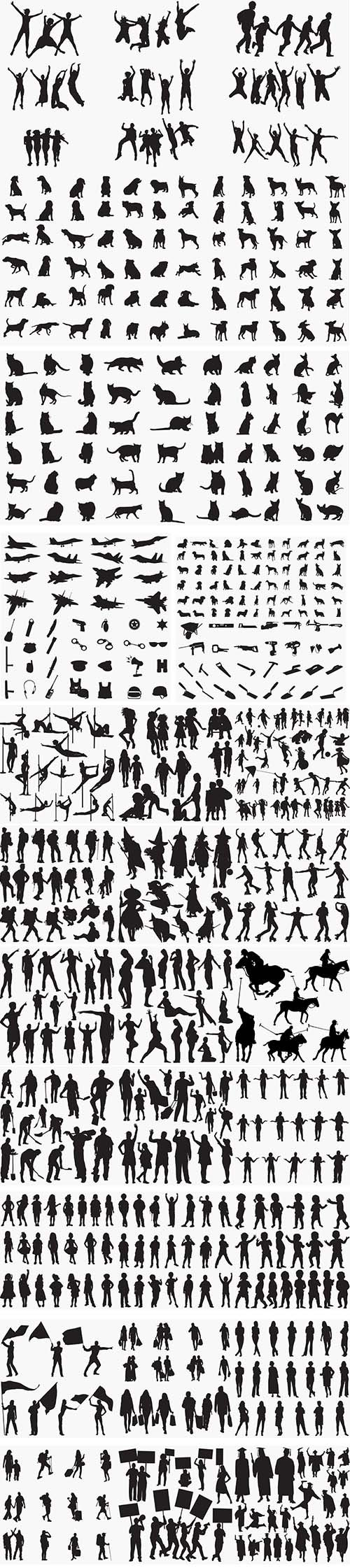29 Black Silhouettes Vector Pack