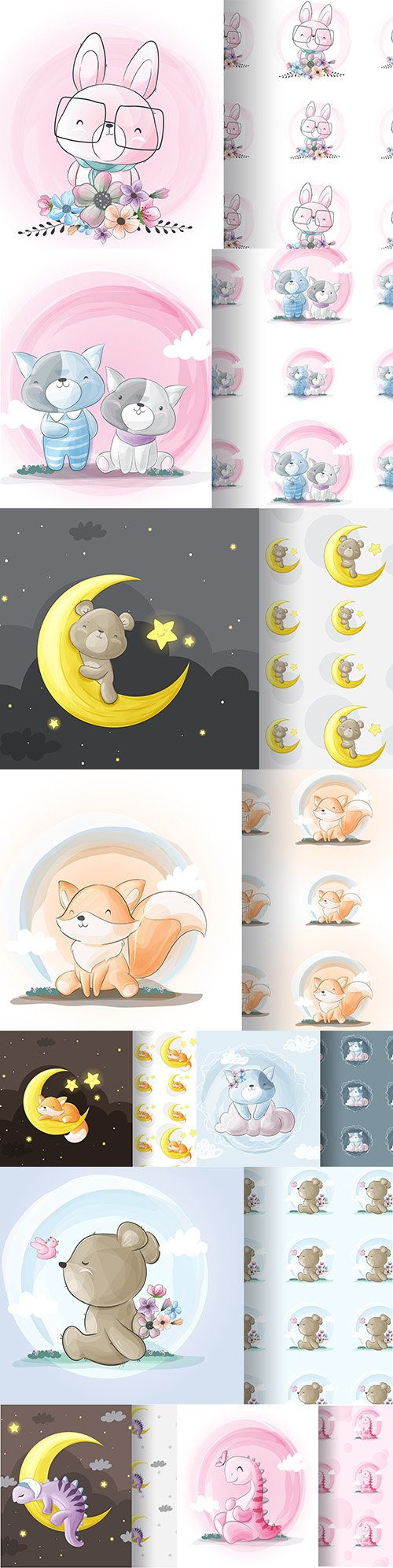 Cute cartoon animals and seamless background 4