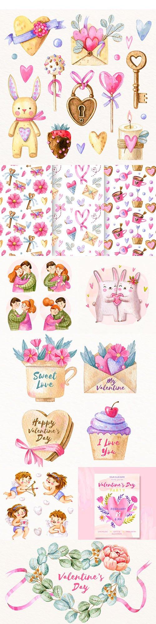 Happy Valentine's Day romantic watercolor illustrations 48