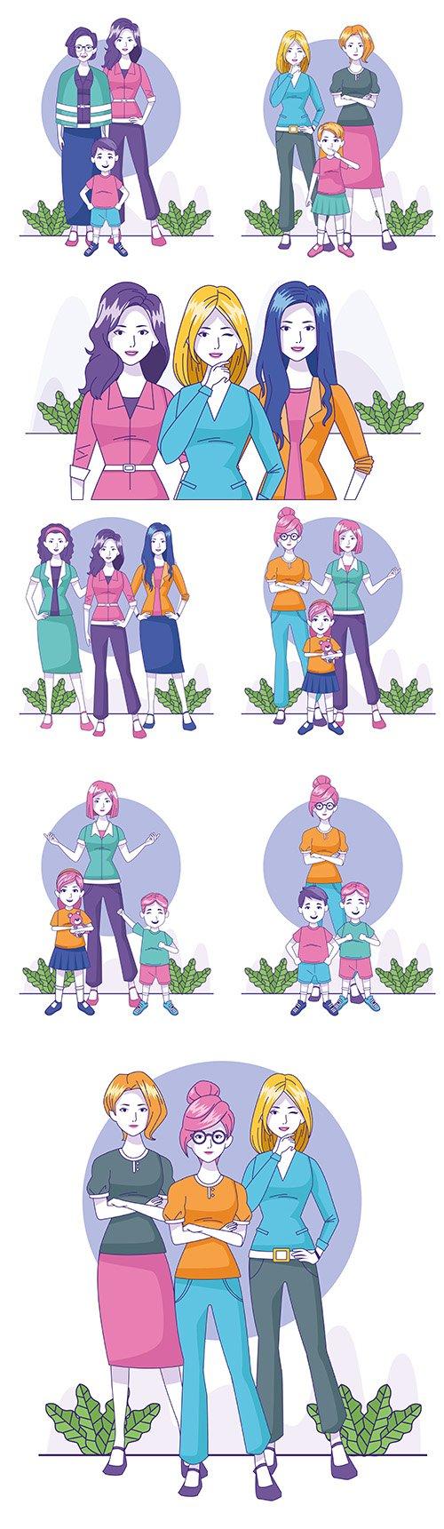 Women in fashion cartoon and small children