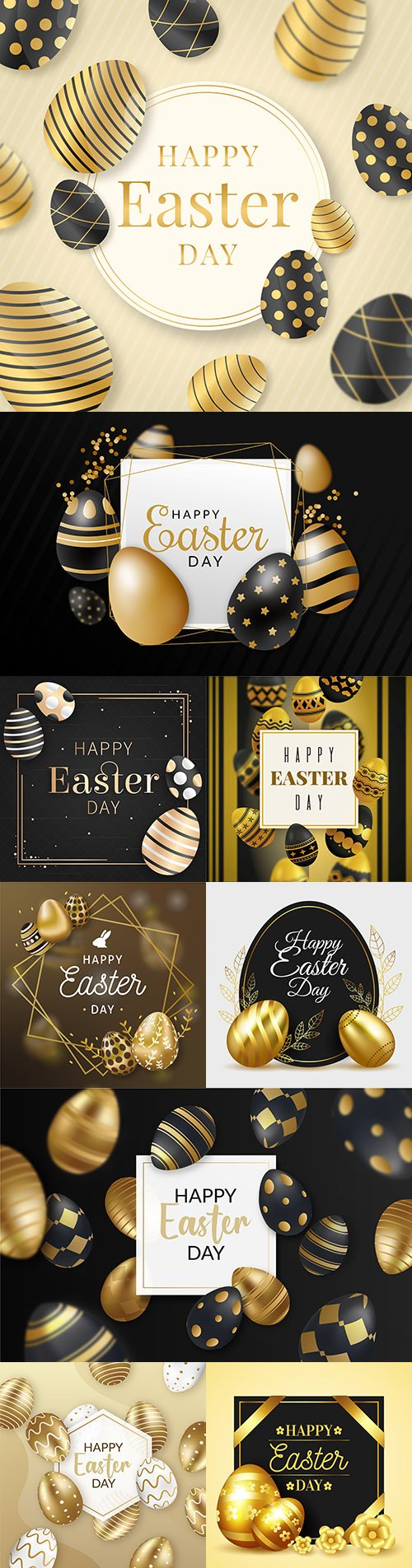 Happy Easter golden eggs and decorative elements