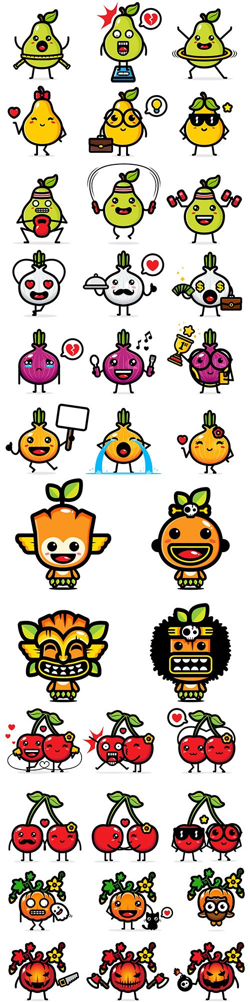 Fruits and vegetables funny cartoon icons