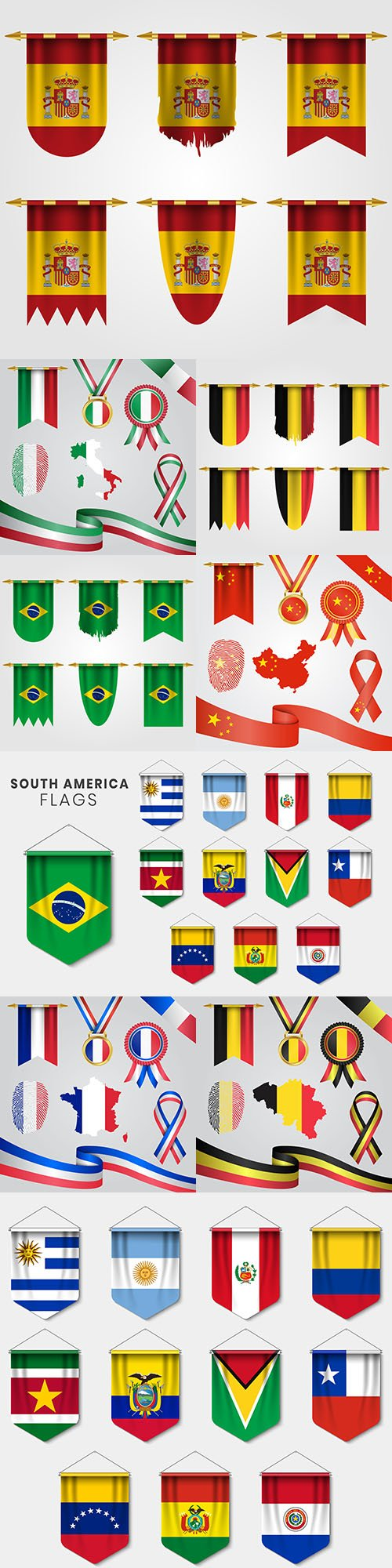 Flag countries in different forms design element
