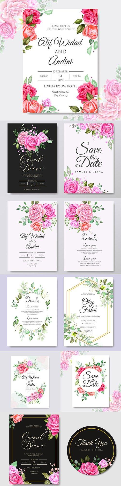 Wedding floral watercolor decorative invitations 15