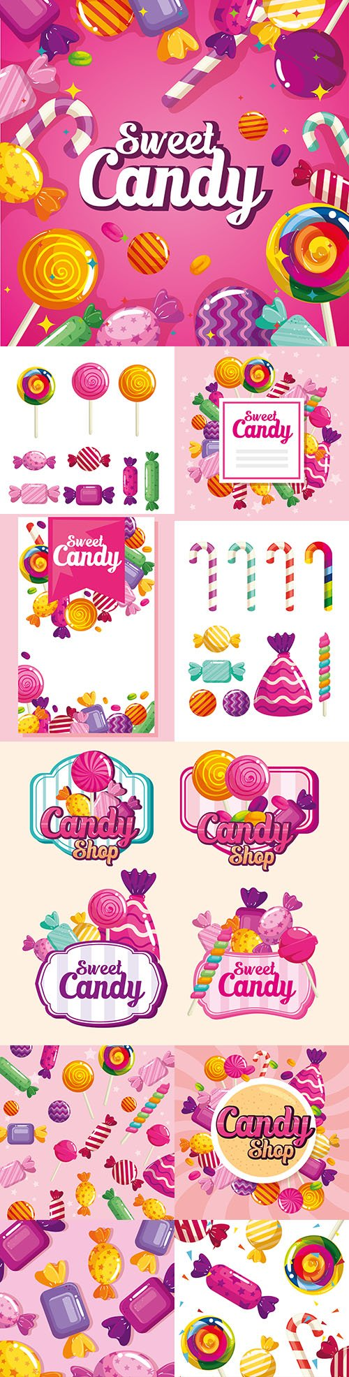 Sweet lollipop and candy delicious dessert painted illustrations