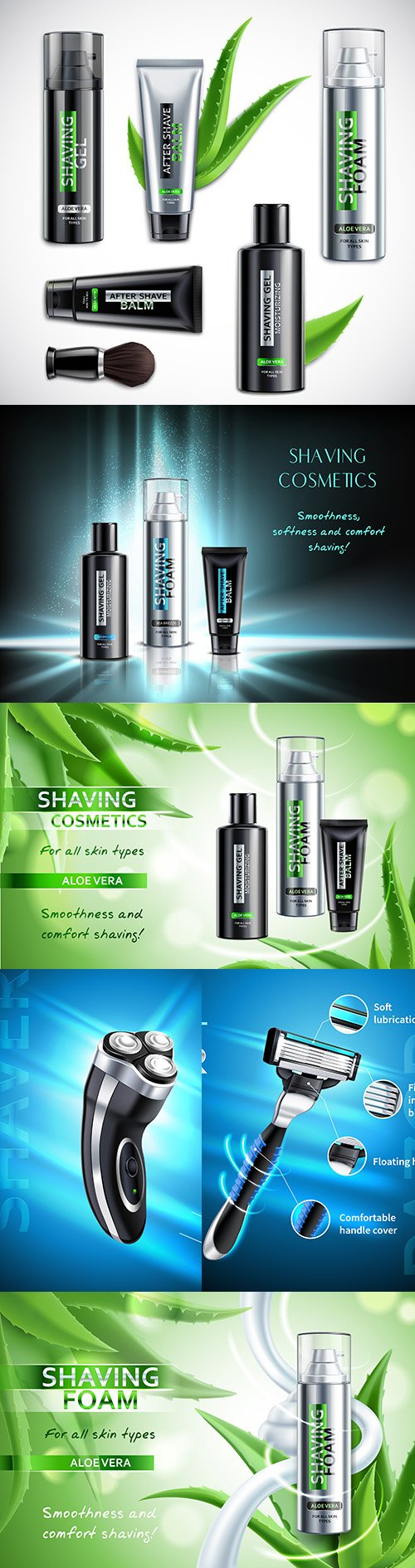 Male cosmetics and shaving products realistic illustrations