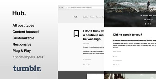 ThemeForest - Hub v1.0.13 - One Column, Blogging Tumblr Theme - 10891864