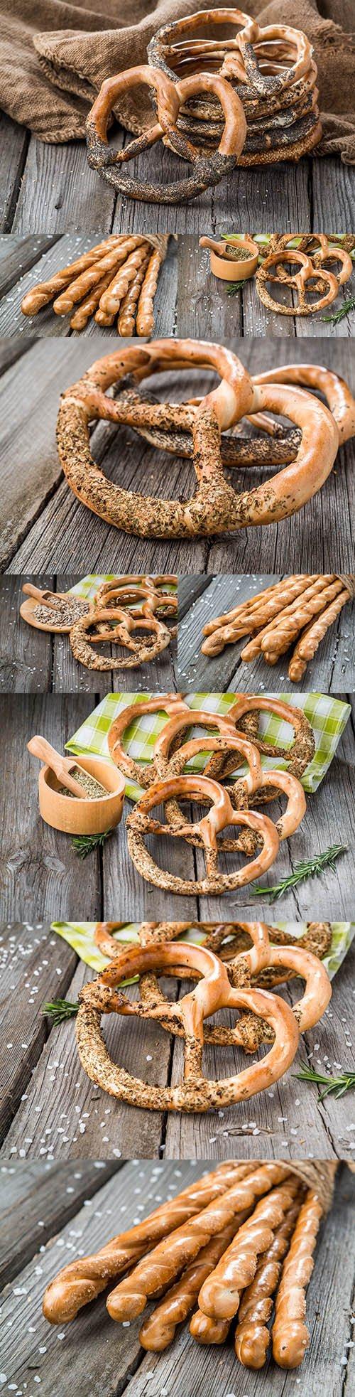 German pretzel and cheese sticks village background