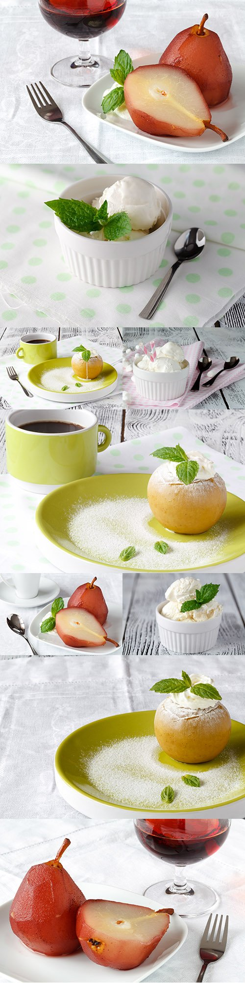 Fruit dessert with ice cream and mint leaves