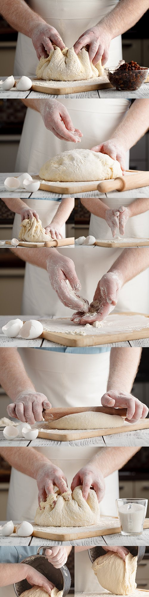 Bakery chef kneads baking dough with his hands