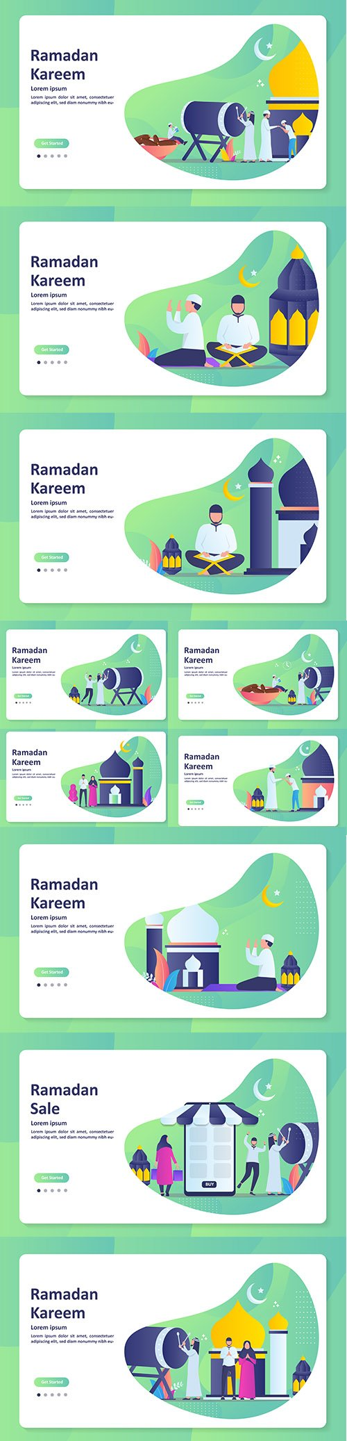 Happy Eid Mubarak and Ramadan Kareem Banner Set