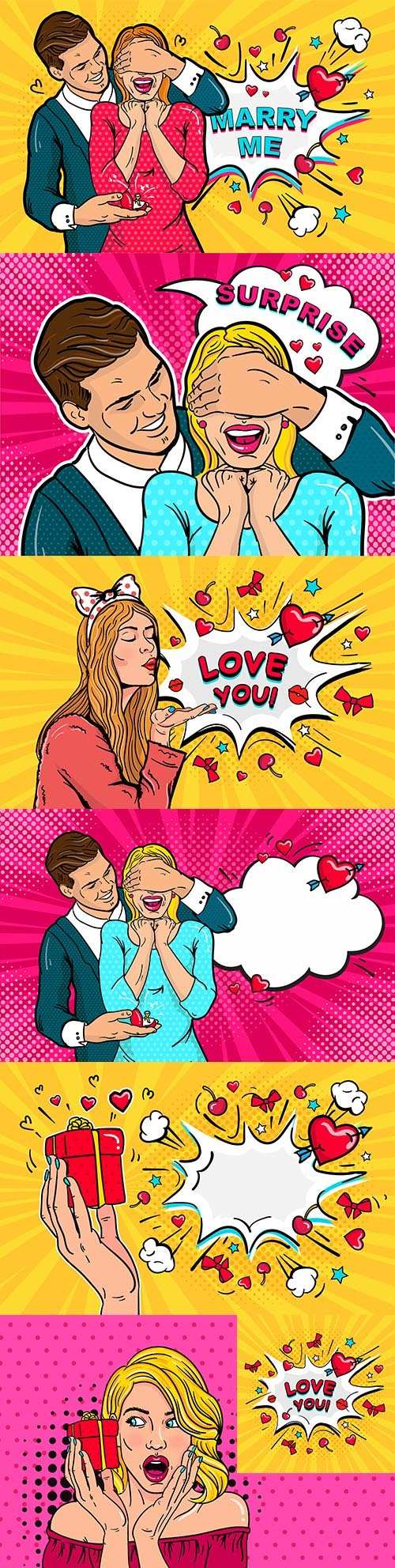 Happy couple in love illustration in pop art style