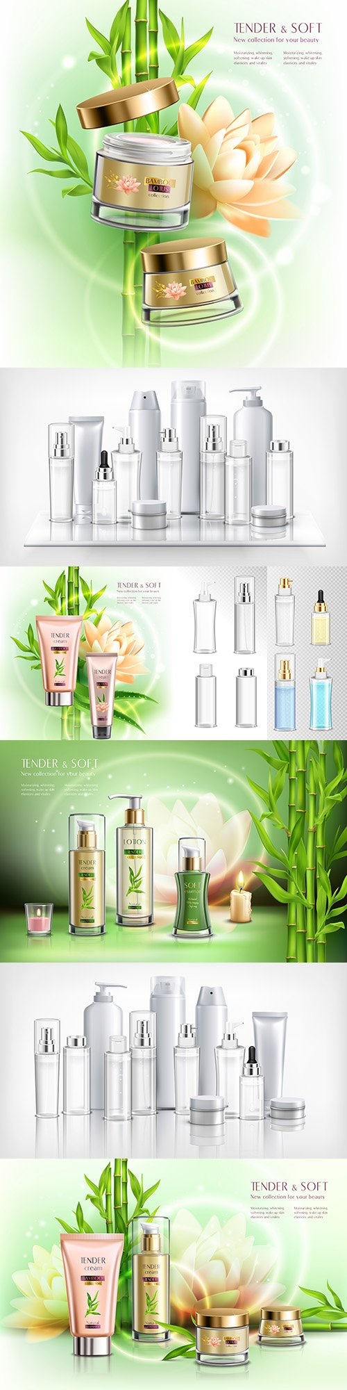 Cosmetics with lotus flowers, bamboo and realistic containers