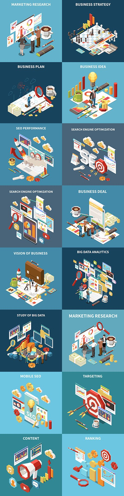 Isometric 3d business strategy and marketing illustrations
