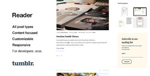 ThemeForest - Reader v1.0.6 - Responsive Blogging Tumblr Theme - 12930483