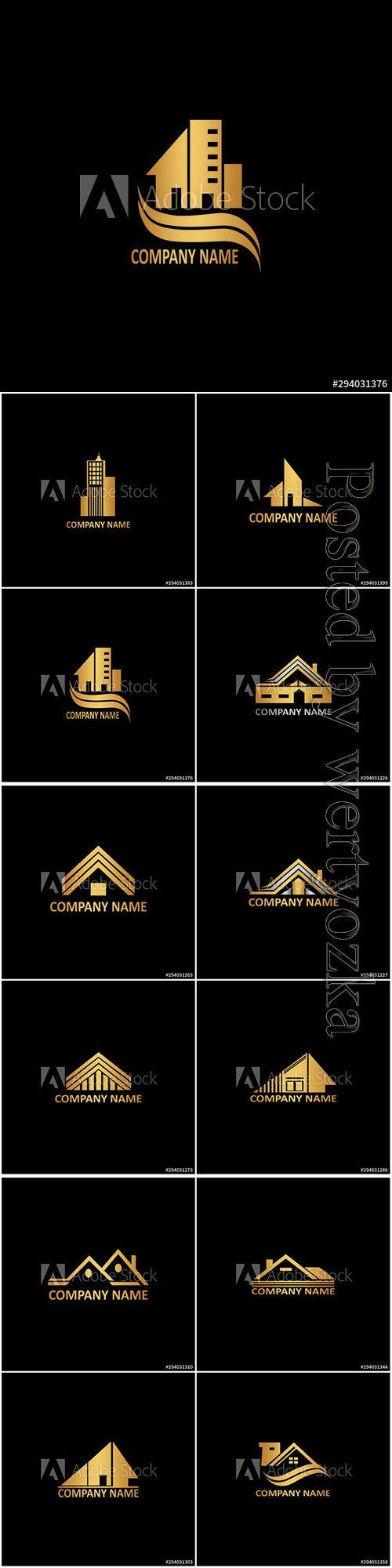 Golden abstract building logo icon vector design concept