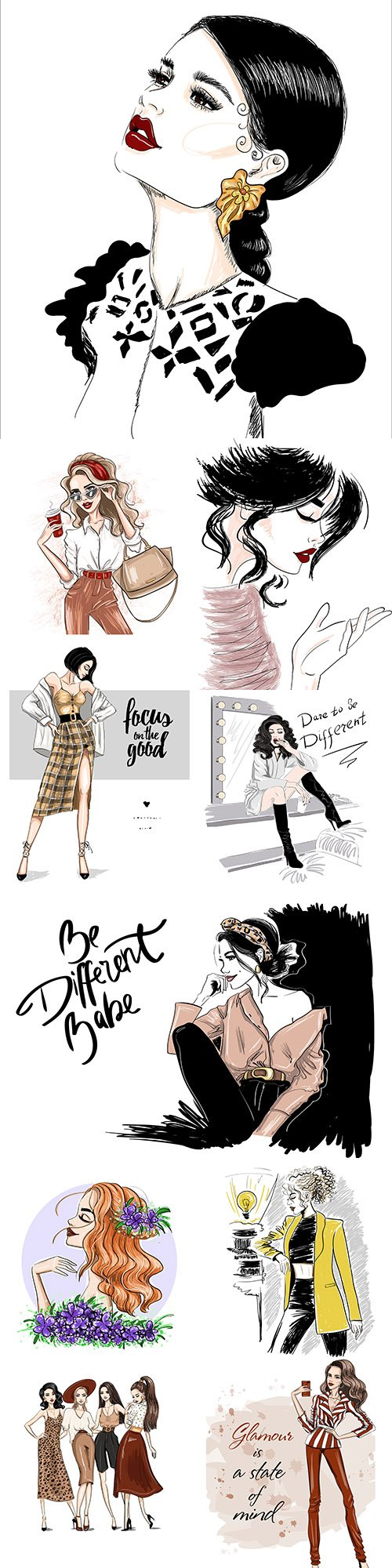 Fashion girl with accessories and stylish clothes