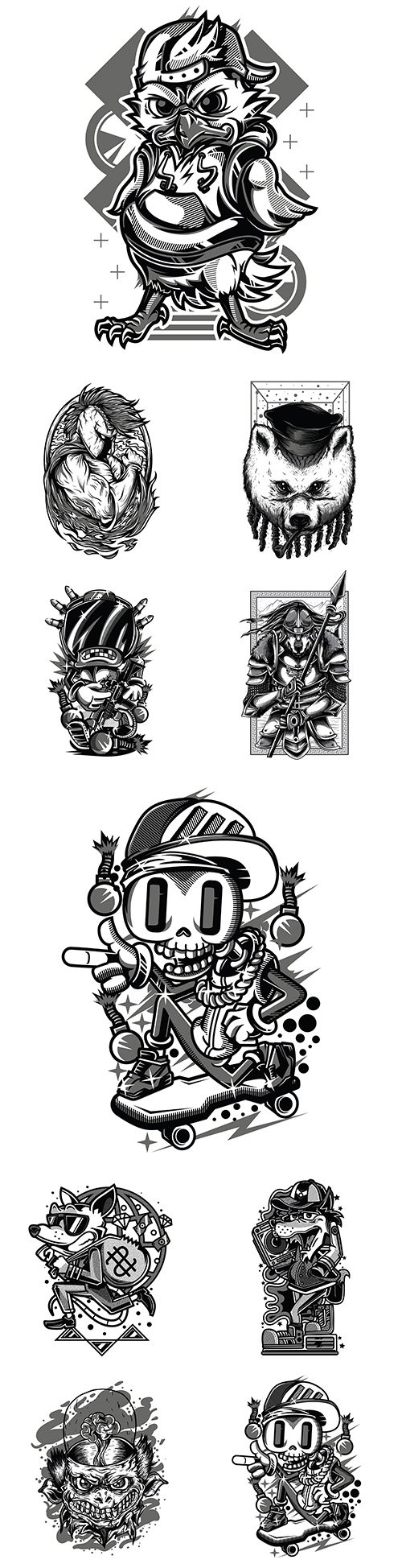 Drawing by hand emblem collection tattoo design