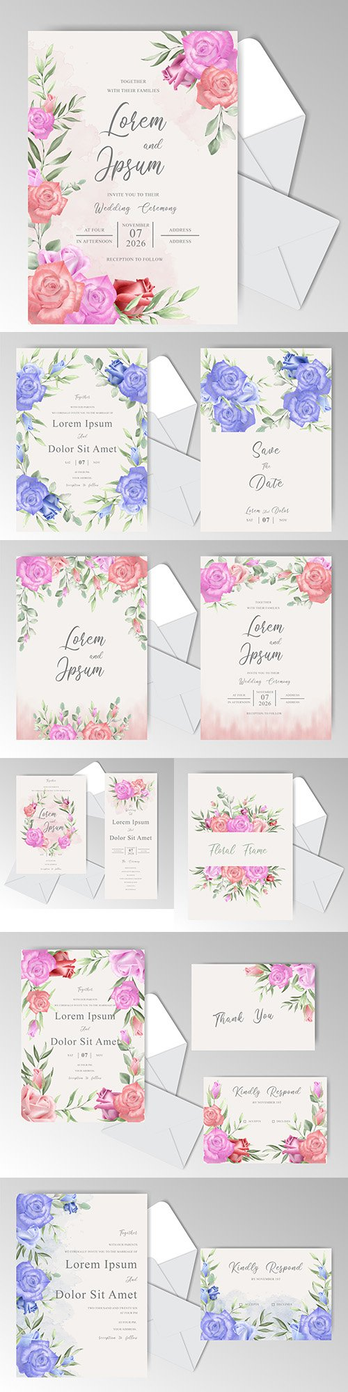 Wedding floral watercolor decorative invitations 19