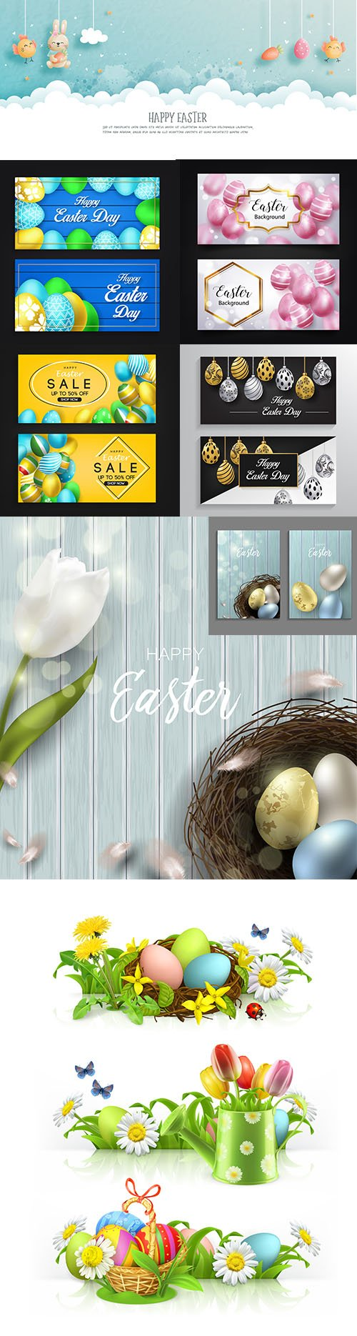 Happy Easter Day Premium Illustrations Set