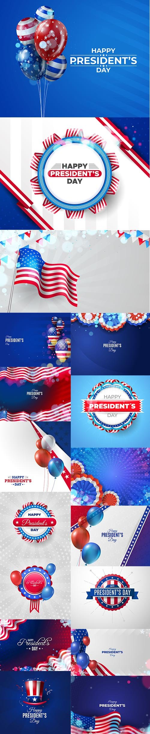 USA Presidents Day Premium Illustrations Set
