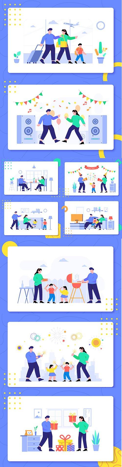 Family Activity Together Design Illustration Set